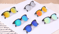 Cheap free shipping 20pcs Colorful lens sunglasses men and woman fashion sun glasses AAA quality Restoring ancient ways Dazzle colour sunglasses