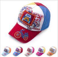 Wholesale 2014 NEW boy and girl snapback baseball caps cartoon pattern hats children mesh cap