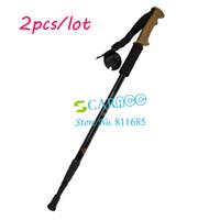 Trekking Poles Aluminum 17487# 2PCS LOT Aluminum Alloy Adjustable 3-Step Hiking Pole Telescopic Antishock Pole Outdoor Walking Stick Cork Handle Bar 17487