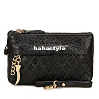 Wholesale Playboy fashion ladies handbags leather clutch bag with handle leisure Korean zipper leather purse handbag promotional double black trump