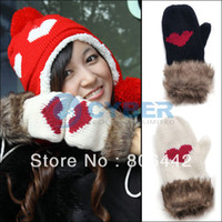 Wholesale New Women s Ladies Wool Knitted Winter Thickening Warm Heart Fur Gloves