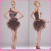 Reference Images Tulle One-Shoulder Glamorous Brown Homecoming Dresses One Shoulder Tulle Short Corset Pleats Cheap Graduation Prom Gowns