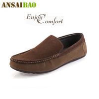 Wholesale Summer New Soft flats men suede leather male Moccasins loafers boat shoes slip on creepers canvas diving shoes casual sneakers mens