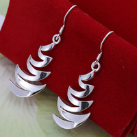 Wholesale E203 factory price silver earrings silver fashion jewelry Crescent Moon Earrings