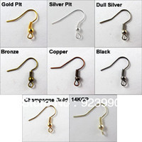 Clasps & Hooks Fashion Beads Free Shipping 100Pcs Ear Wire Hook With Spring and Ball Gold Silver Bronze Copper Black 18x21mm For Jewelry Making Craft DIY
