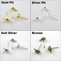 ball post earrings - Half Ball Stud Earring Posts Earwire Jewelry x13mm Gold Silver Bronze For Jewelry Making Craft DIY