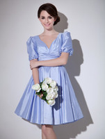 Wholesale Beautiful Light Sky Blue A line V Neck Pleated Short Sleeves Taffeta Cocktail Dress knee length r91 u14 xxT