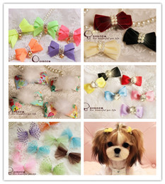 Free shipping Handmade Designer Dogs accessories pet Dog Bows Dog Grooming Hair Bows with clipper stylish Pet Gifts 100pcs lots