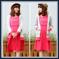 maternity clothes - 2pcs in1 coat dress long sleeve fashion maternity summer spring autumn wear tops clothing Pregnant clothes nursing dresses feeding dress