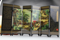 Wholesale Chinese antique art collections lacquer folding Wooden screens Riverside