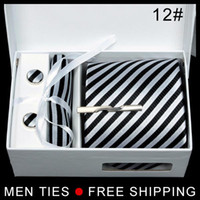 Wholesale Hot Silk Men s Ties Formal Necktie Cravat Cufflinks Men Tie Clip Handkerchief Set black amp white striped