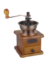 Wholesale Vintage Mini Old Style Wood Metal Black Coffee Bean CONICAL Grinder Kitchen E267
