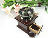 Wholesale 1PCS Vintage manual coffee grinder classic wooden hand coffee grinder mill E266