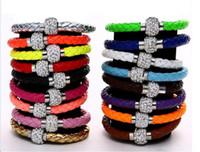 Wholesale Fluorescent Neon Color PU Leather Bracelet with Crystal Shamballa Disco Ball Magnetic Clasp Bracelet the anti fatigue Bracelets Colours