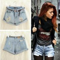 Jeans Women Bootcut NEW Retro Women Girls High Waist Ripped Flange Hole Wash White Jean Denim Shorts women free shipping