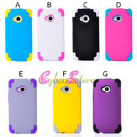 For HTC in one pc - Luxury Hybrid in Protective Robot Hard PC Plastic amp Silicone Silicon Case Cover for HTC One M7