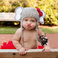 Boy Winter Crochet Hats 2013 New baby clothes newborn baby infants crochet costume animal elephant bow hat Photography props