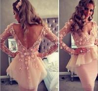 Cheap Custom Made cheap dress Dusty Rose Lace Long sleeves Evening Dress knee length peplum cocktail dress