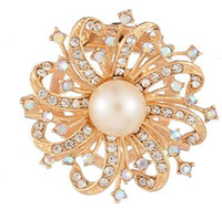 Wholesale Fashion Full Rhinestone Flower Brooch Women s High Quality Silk Scarf Ring Bouquet Pin Gold Plated Brooch For Wedding Dresses Jewelry