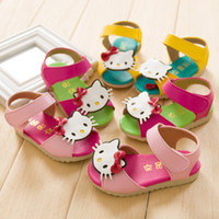Wholesale 2014 New Arrival Children s Sandals Baby Girls Cartoon Kitty Cat Sandals With Velcro Princess Summer Shoes cm Colors
