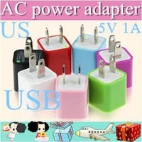 Wholesale 50PCS AC Power Adapter US Plug USB Wall Travel Charger US EU Adapter for iphone S for Samsung Galaxy Cellphones Multi color