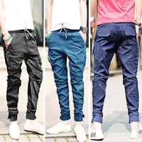 Men baggy trouser men - New Korea Men s Baggy Cargo Harem trousers Men Jeans overalls casual Trousers colors available Size M L XL XXL