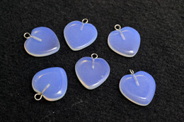 Lots wholesale jewelry Cue Opal Glass Heart Gemstone Loose Beads Silver Plated Hook Fit Bracelets and Necklace DIY #B94