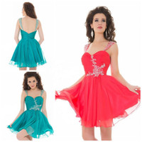 Wholesale 2014 Custom made Strap Ball gown Mini chiffon D Pretty homecoming dress Fashion Graduation dress Crystal Short prom gowns
