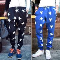 Men drop crotch pants - NEW Men drop crotch harem skinny sweatpants With star printed sports baggy pants mens hip hop outdoor silm bandana trousers
