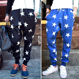 Wholesale NEW Men drop crotch harem skinny sweatpants With star printed sports baggy pants mens hip hop outdoor silm bandana trousers
