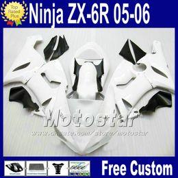 ABS bodywork Free Seat cowl for ZX-6R 05 06 Kawasaki Ninja fairing ZX6R 636 ZX636 white black race fairings kit Q76 2005 2006 ZX 6R +7 Gifts