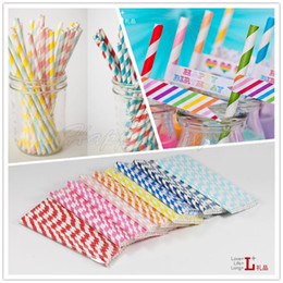 Wholesale Via Fedex EMS Colors Paper Drinking Straws Polka Dot Chevron Stripe Star Designs Event amp Party Supplies