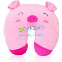 Wholesale Cute Cartoon Pink Pig Pattern Design U shape Neck Pillow rest pillows Car Travel Pillow