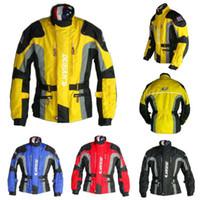 Wholesale DUHAN Men s Motor Oxford Jacket Motorcycle Jacket Racing Jacket Motocross jacket long jacket with pieces protector Yellow