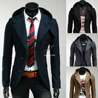 Wholesale High Quality New Winter Men Casual Hooded outwear Slim Fit Suit Blazer Jackets Coats drop shipping
