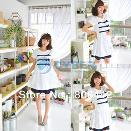 Wholesale Summer Pregnant Short Sleeve Dress Maternity Clothing Cotton Maternity Dress White