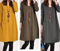 Cheap Casual Dresses plus size Best Vintage Dresses Autumn long sleeve