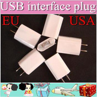 Wholesale 100PCS AC Power Adapter US Plug USB Wall Travel Charger US EU Adapter for iphone S for Samsung Galaxy Cellphones Multi color AAAAA