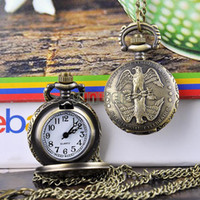 Wholesale 5pcs Two Eagles Vintage jewelry Style Bronze Steampunk Quartz Necklace Pendant Chain Clock Pocket Watch