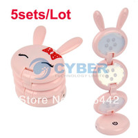 Desk Lamps ABS LED Bulbs 5sets Lot Lovely Pink Rabbit Shape USB Folding Up LED Desk Lamp Table lamp Free Shipping 4733