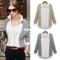 Wholesale shirt New Women Fashion Spring Autumn Turn down Collar Batwing Sleeve Patchwork Gray Apricot