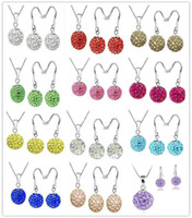 Wholesale 60 OFF Shamballa Jewelry Set mm inch Silver Chain mm Crystal Bead Ball Pendant Necklace Sparkly Silver Drop Earring Mix Color
