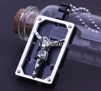 Wholesale Jesus Black Square L Stainless Steel pendant necklaces men necklace jewelry Never fade