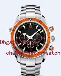 AAA Quality Planet Ocean Co-Axial Stainless steel Orange Bezel Swiss Eta 7750 Movement Automatic Mens Watch Black Men's Sport WristWatches