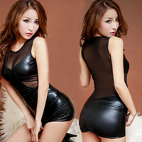 Wholesale Women s Ladies Female Sexy Leather Lingerie Underwear Sleepwear Sexy Clubwear Performance Tight Uniforms Costumes