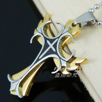Wholesale 18K Gold Plated L Stainless Steel Double Cross Pendant Necklace For Men Fashion L Stainless Steel Jewelry For Man Women