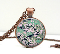 asian art pictures - 1PC Asian Floral Necklace Green Black Glass Art Picture Pendant Photo Pendant Handcrafted Jewelry