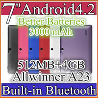 Wholesale 50pcs Allwinner A23 quot Android Tablet PC Q88 Dual Core Android MB GB dual cameras color bluetooth better batteries mAh