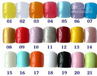 Wholesale Brand New Fashion Nail art tips False French Acrylic Nails diy for Toe size of a packet21colors