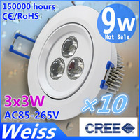 Wholesale CREE Dimmable X9W Down Lamp Fixture Ceiling Lamp AC85 V White Shell CE ROHS Years Warrnaty LM Cold Warm white